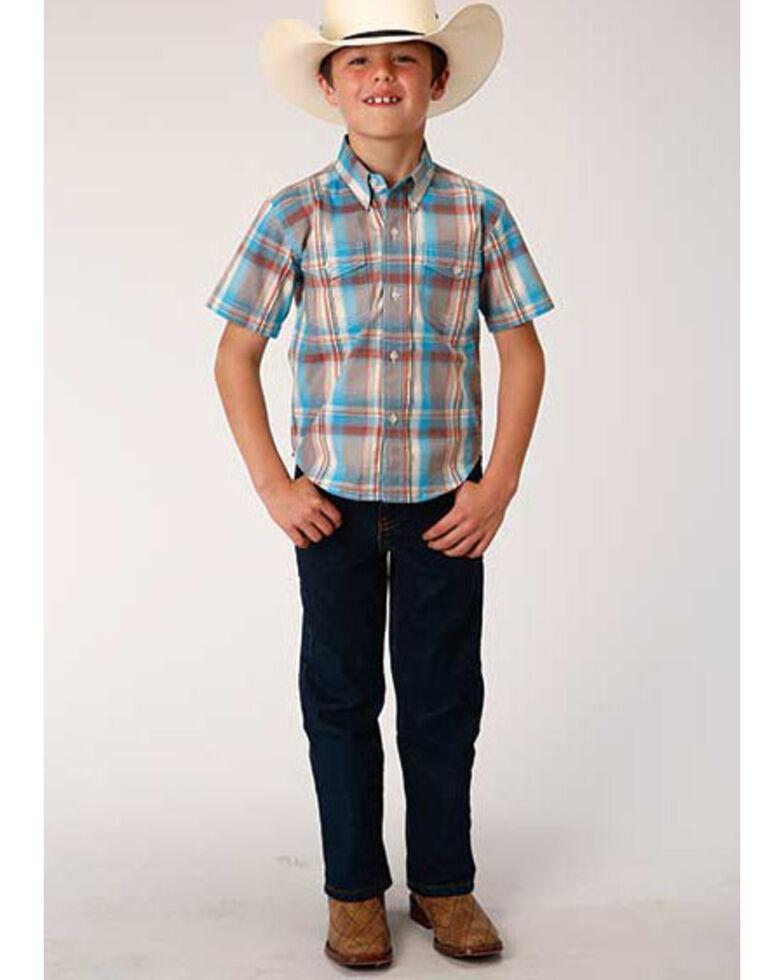 Roper Boys' Amarillo Oasis Plaid Short Sleeve Western Shirt , Multi, hi-res