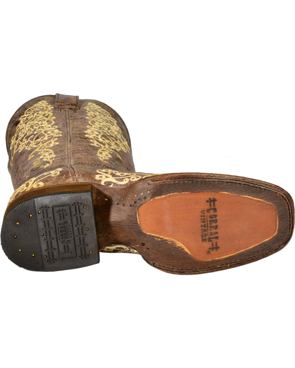 Corral Brown Crater Embroidered Cowgirl Boots - Square Toe, Brown, hi-res