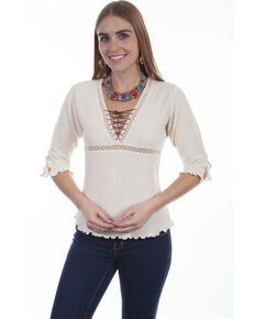 Cantina by Scully Women's Natural Lace Up Blouse, Natural, hi-res