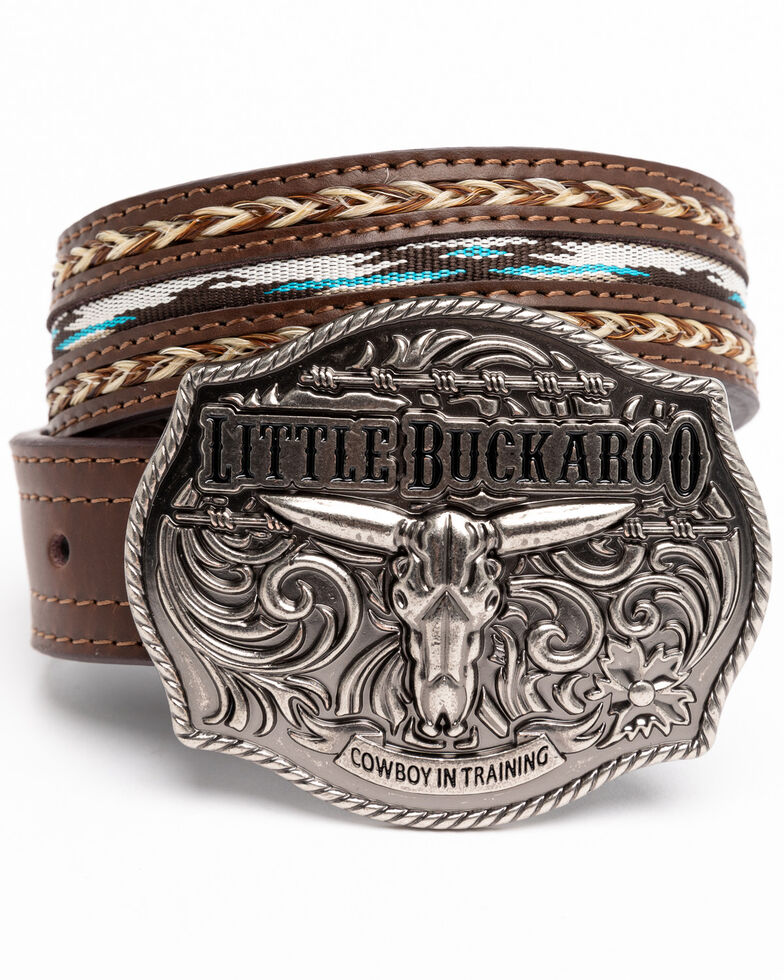 Cody James Boys' Little Buckaroo Ribbon Buckle Belt , Brown, hi-res