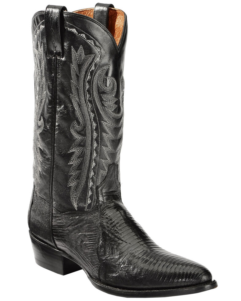 Dan Post Raleigh Black Lizard Cowboy Boots - Medium Toe  , Black, hi-res