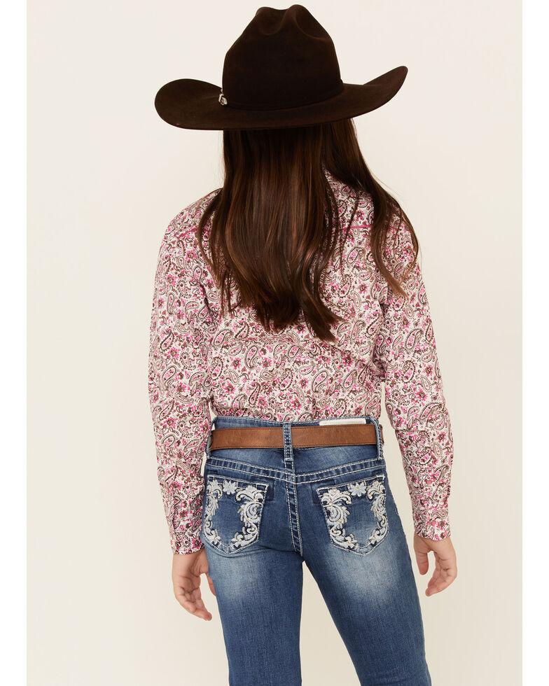 Cowgirl Hardware Girls' Pink Paisley Print Long Sleeve Western Shirt , Pink, hi-res
