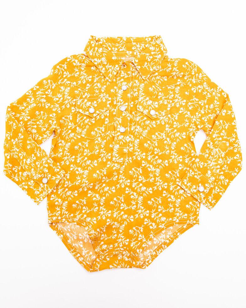 Wrangler Infant Girls' Mustard Ditsy Floral Onesie, Yellow, hi-res