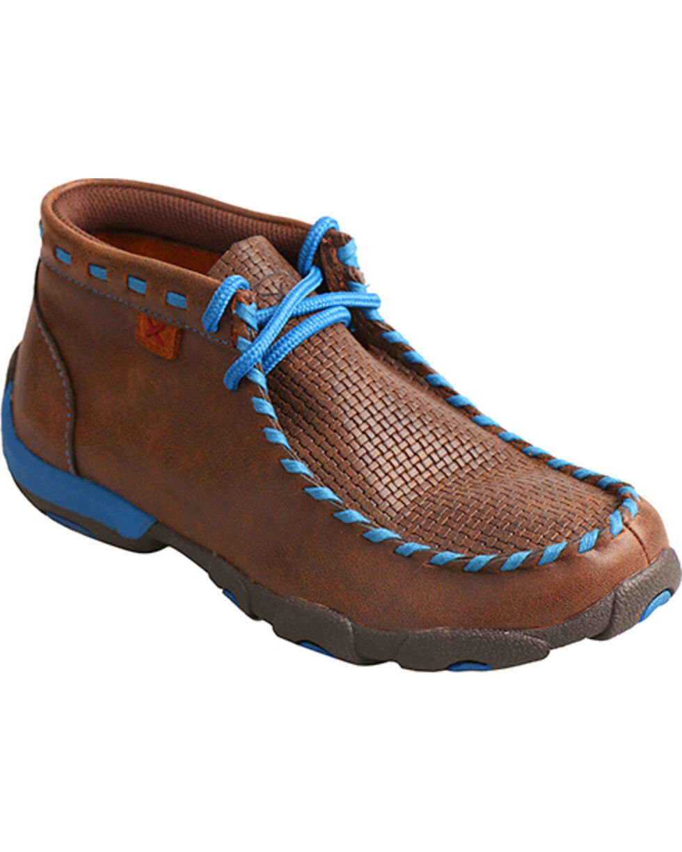 Twisted X Boys' Brown Blue Lace Driving Moccasin Boots - Moc Toe , Brown, hi-res