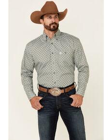 George Strait By Wrangler Men's Green Geo Print Long Sleeve Button-Down Western Shirt , Green, hi-res