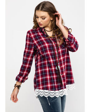Shyanne Women's Family Plaid Flannel Lace Hem Shirt , Red, hi-res