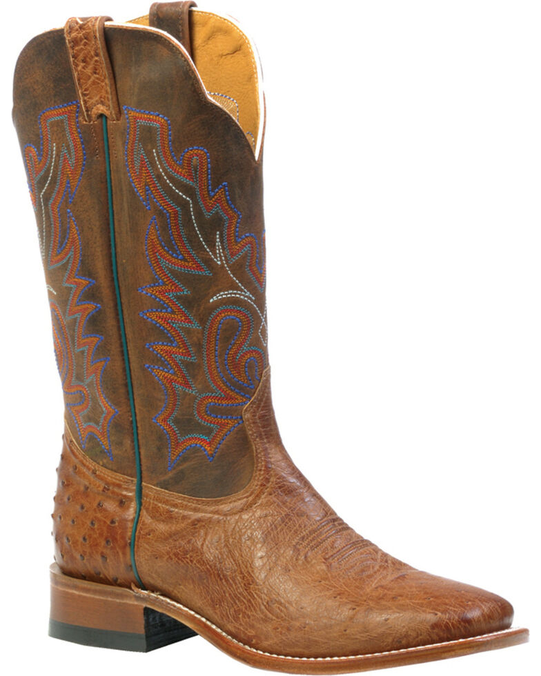 Boulet Smooth Mad Dog Ranger Ostrich Boots - Square Toe, Tan, hi-res