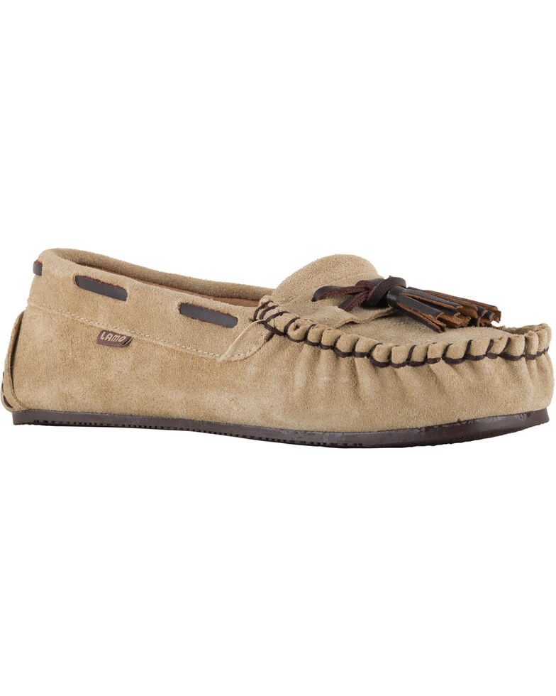 Lamo Footwear Women's Leah Tasseled Moccasins - Moc Toe, Tan, hi-res