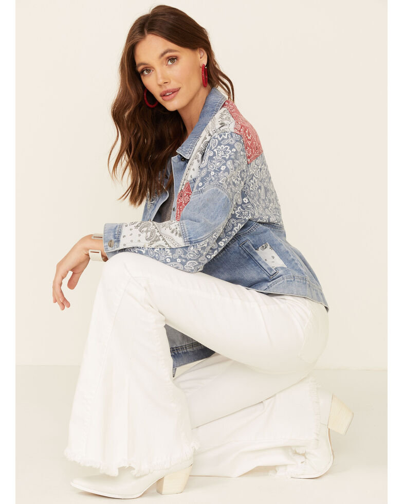 Driftwood Women's Medium Wash Bandana Patchwork Snap Denim Jacket , Blue, hi-res