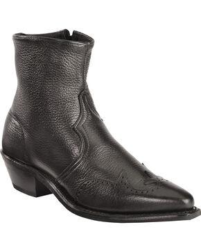 Abilene Western Wingtip Zipper Boots, Black, hi-res