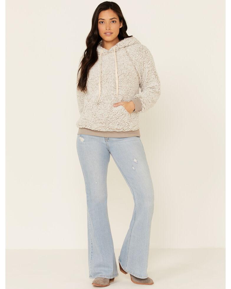 Hem & Thread Women's Grey Sherpa Hooded Sweatshirt , Grey, hi-res