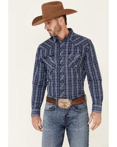Wrangler Retro Premium Men's Indigo Med Plaid Long Sleeve Snap Western Shirt , Blue, hi-res