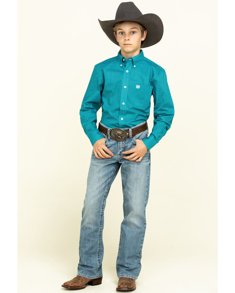 Cinch Boys' Turquoise Geo Print Long Sleeve Western Shirt , Turquoise, hi-res