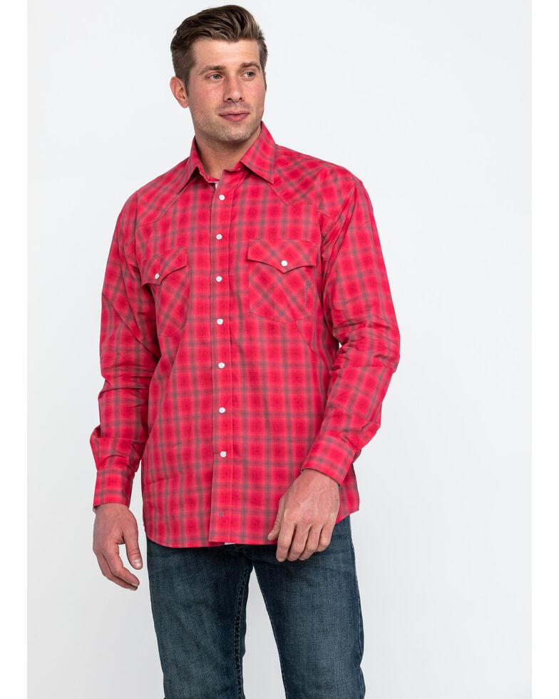 Resistol Men's Connemara Med Plaid Long Sleeve Western Shirt , Pink, hi-res