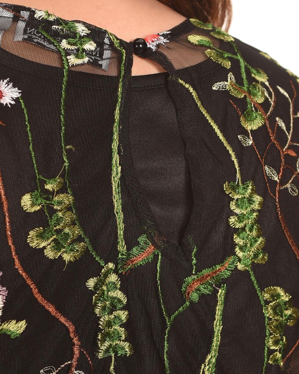 New Direction Sport Women's Black Sheer Embellished Top , Black, hi-res