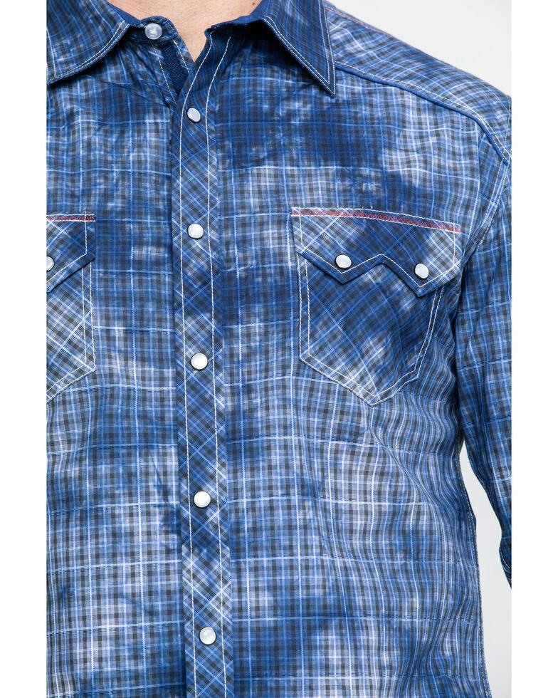 Rock & Roll Denim Men's Spray Washed Satin Plaid Long Sleeve Western Shirt , Blue, hi-res