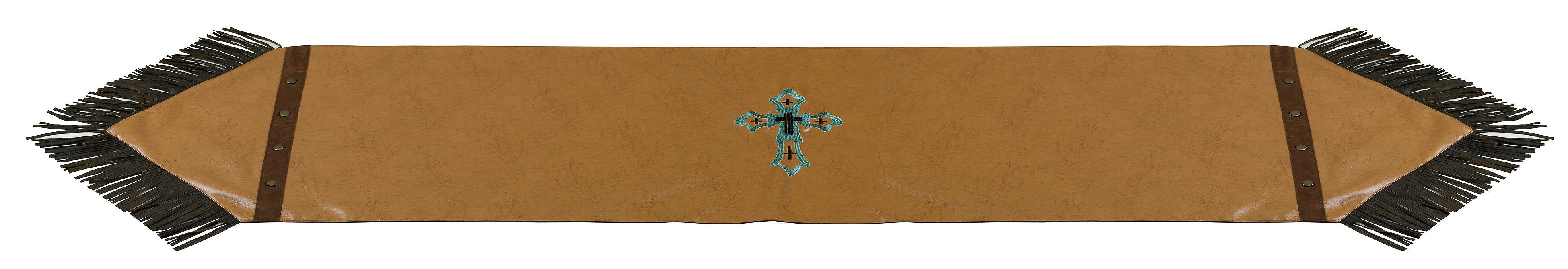 Zoomed Image HiEnd Accents Tan Faux Leather Table Runner, Tan, Hi Res