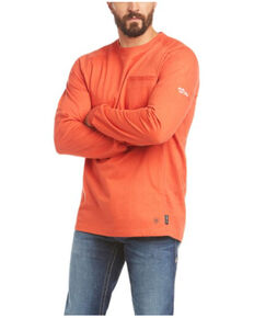 Ariat Men's FR Orange Air Rig Life Graphic Long Sleeve Work Shirt - Big , Orange, hi-res