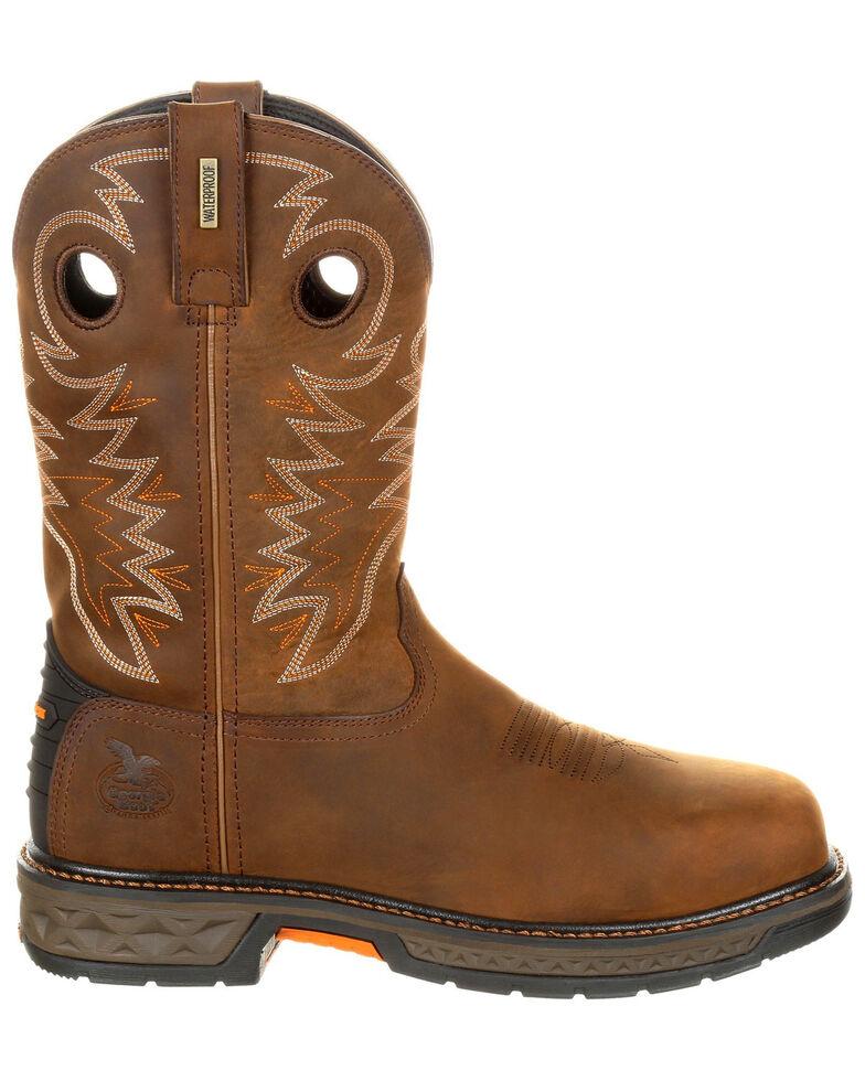 Georgia Boot Men's Carbo-Tec LT Waterproof Western Work Boots - Alloy Toe, Brown, hi-res