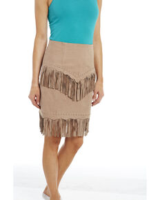 Cripple Creek Women's Hand Laced Nubuck Lamb Skirt , Tan, hi-res