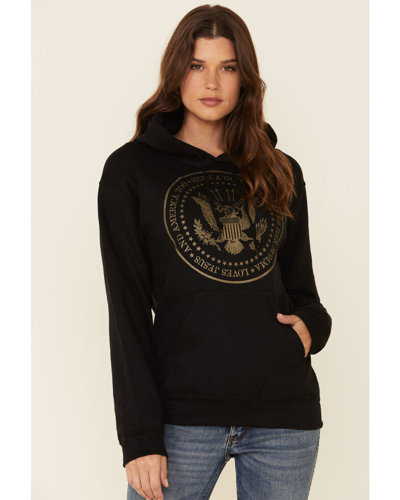 Ruby's Rubbish Women's She's A Good Girl USA Seal Graphic Hooded Sweatshirt , Black, hi-res