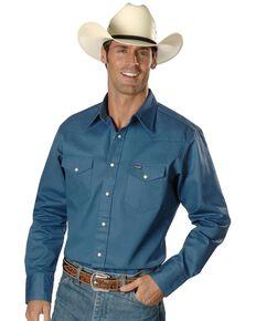 Wrangler Men's Solid Cowboy Cut Firm Finish Long Sleeve Work Shirt, Teal, hi-res