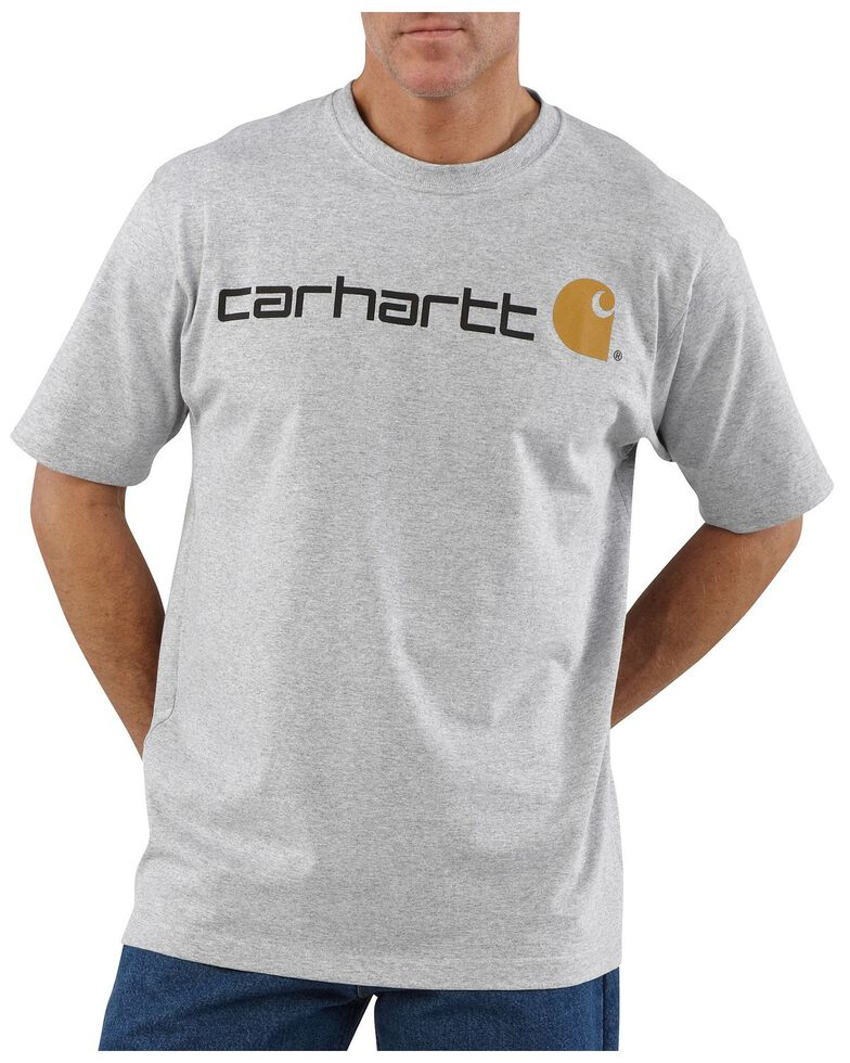 Carhartt Men's Signature Logo Graphic Short Sleeve Work T-Shirt , Hthr Grey, hi-res