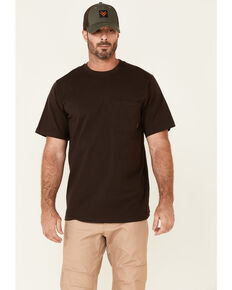 Hawx Men's Solid Dark Brown Forge Short Sleeve Work Pocket T-Shirt - Tall , Dark Brown, hi-res
