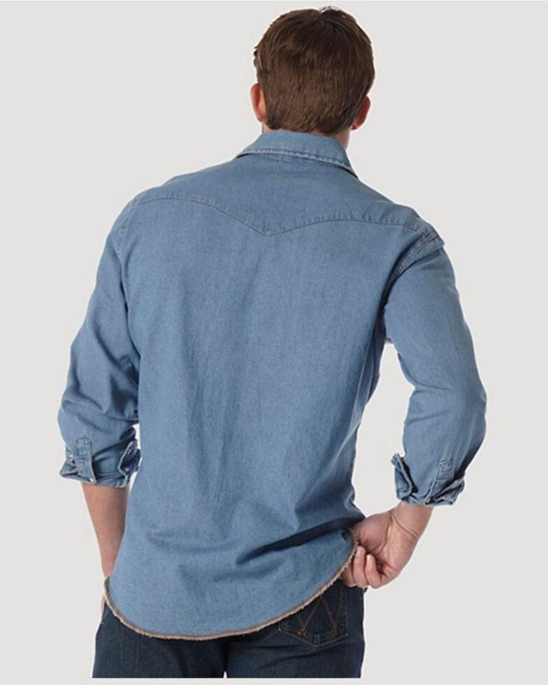 Wrangler Men's Stonewash Denim Long Sleeve Work Shirt, Stonewash, hi-res