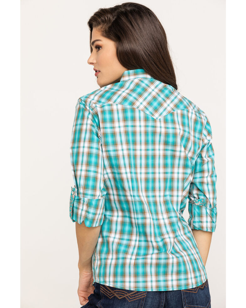 Rough Stock by Panhandle Women's Turquoise Plaid Embroidered Snap Western Shirt, Turquoise, hi-res