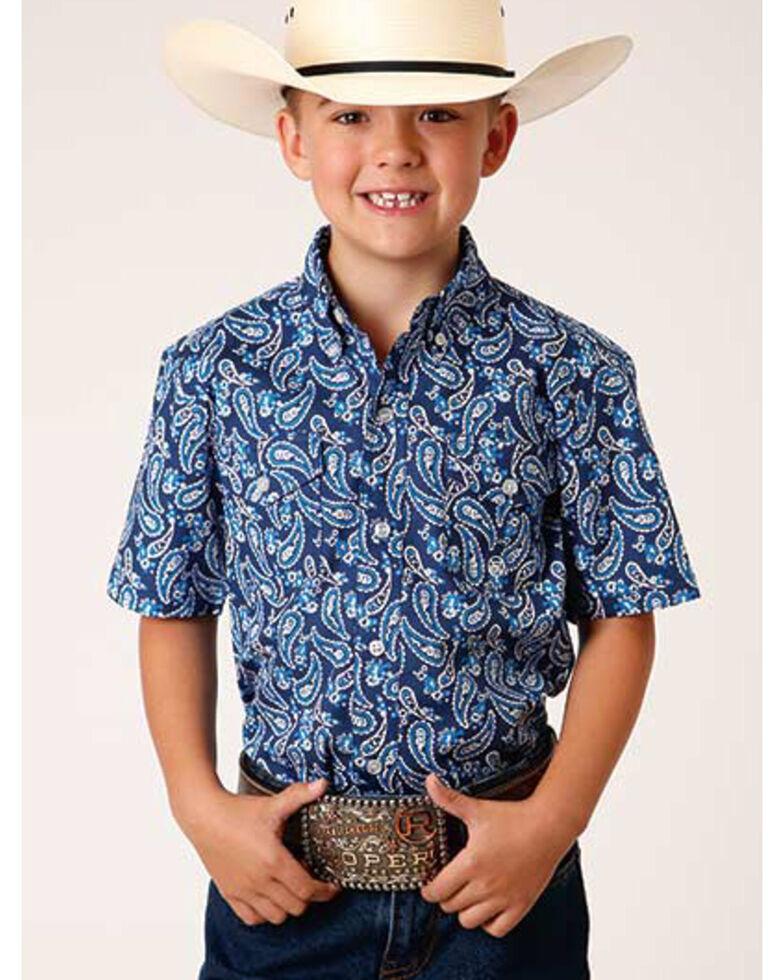 Roper Boys' Indigo Paisley Print Short Sleeve Button-Down Western Shirt , Blue, hi-res