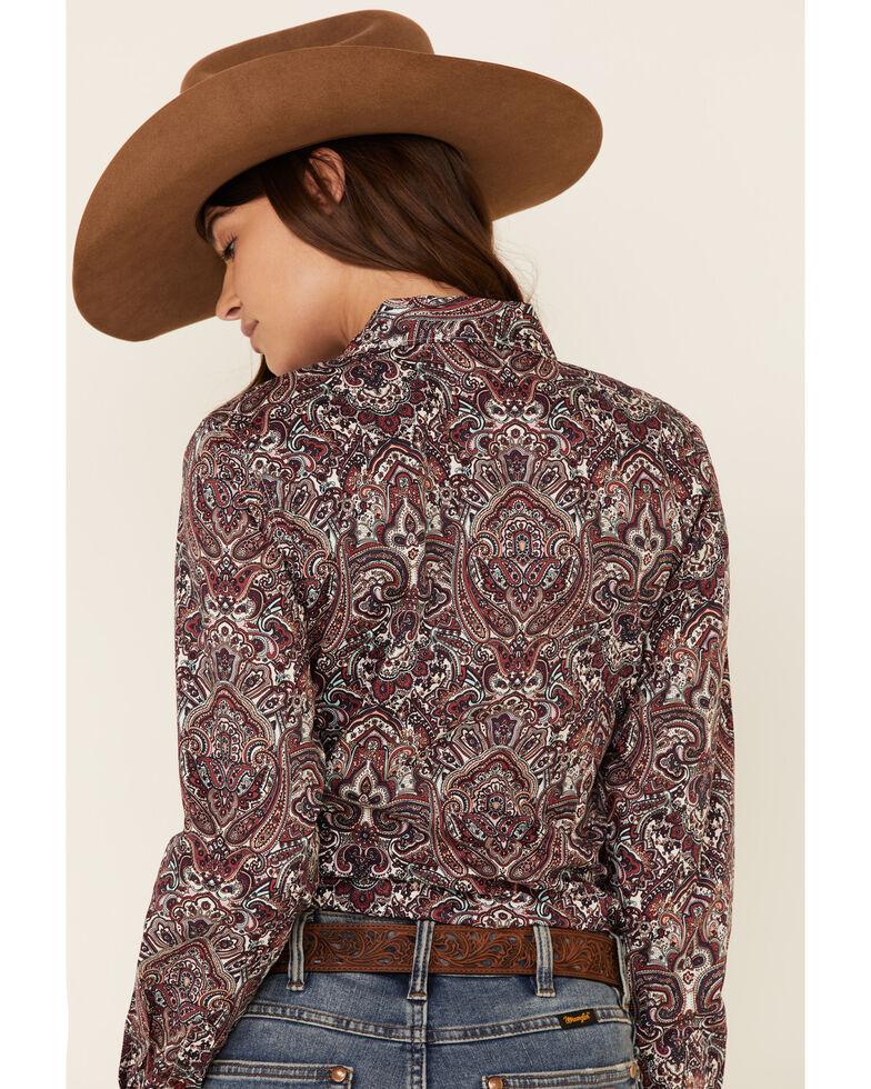 Cinch Women's Purple Paisley Print Long Sleeve Western Core Shirt , Purple, hi-res
