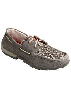 Twisted X Women's Tooled Boat Shoes - Moc Toe, Grey, hi-res