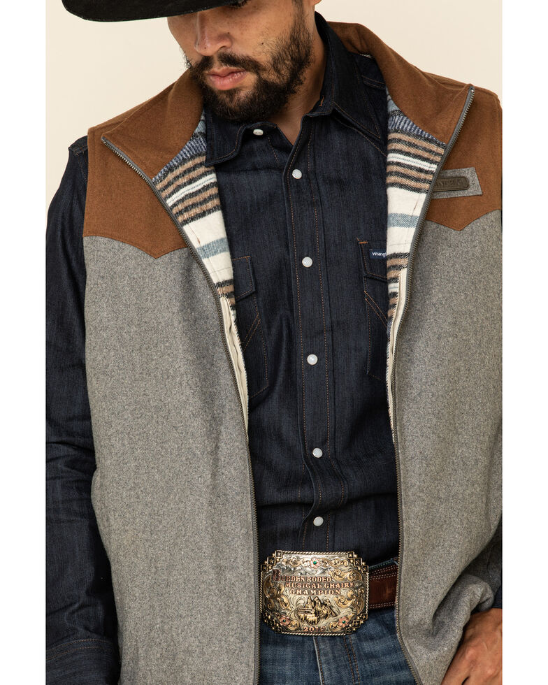 Cinch Men's Multi Color Blocked Concealed Carry Wool Blanket Vest , Multi, hi-res