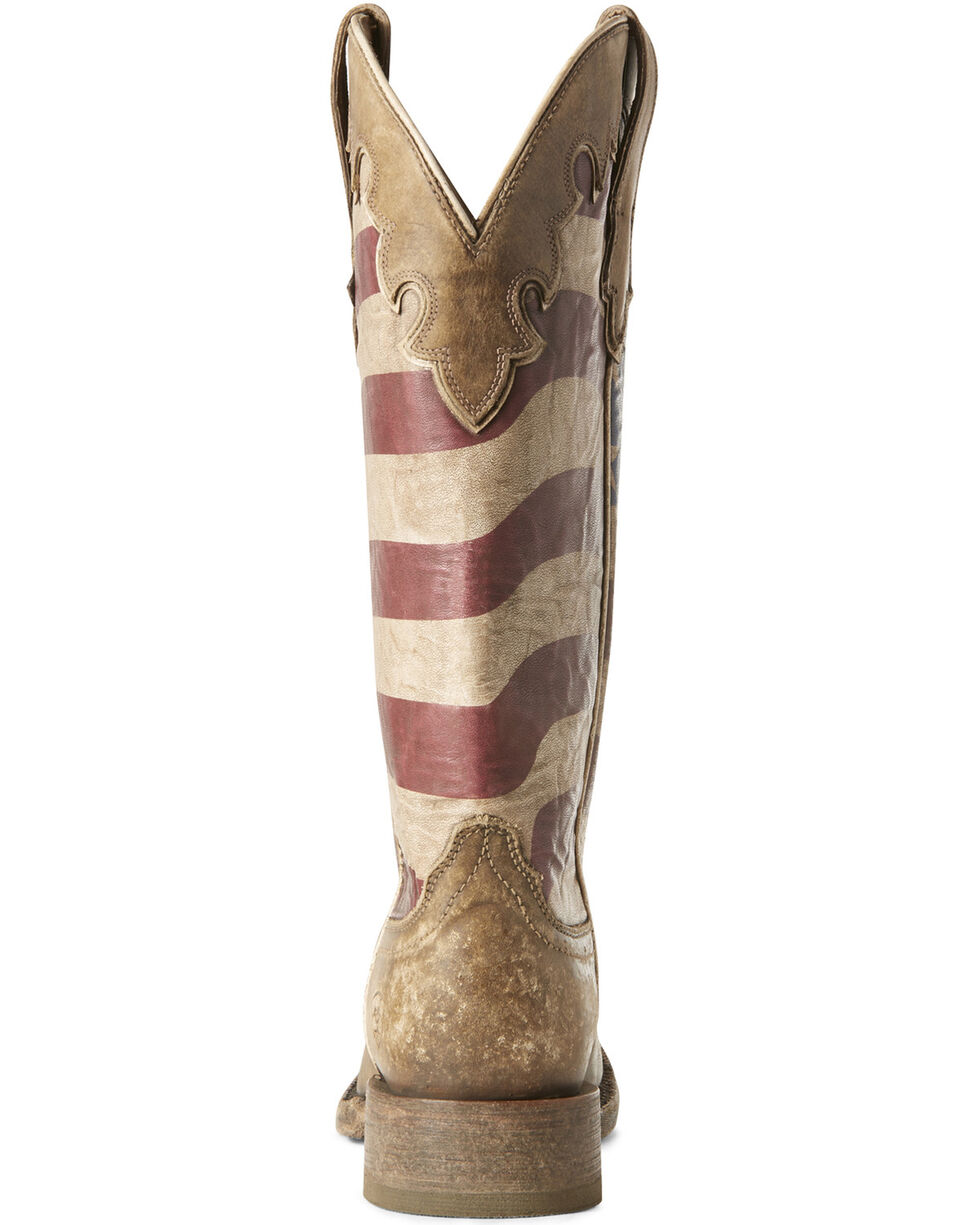 Ariat Women's Ranchero Stars and Stripes Western Boots - Wide Square Toe, Brown, hi-res