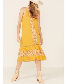 Miss Me Women's Mustard Crochet Midi Dress , Dark Yellow, hi-res