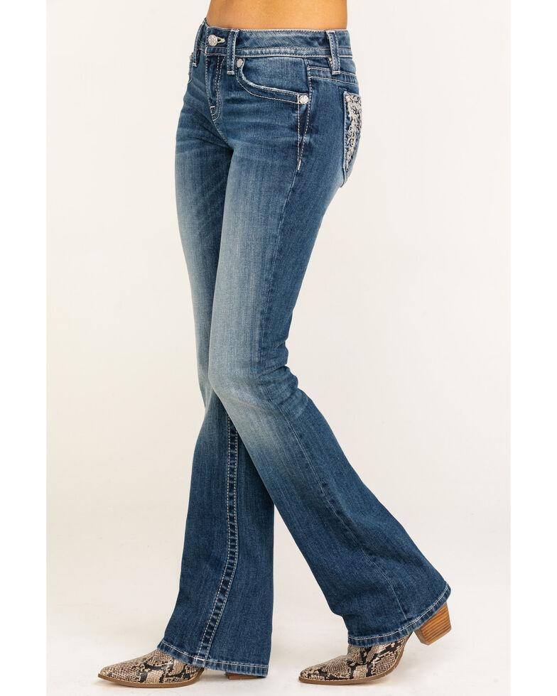 Miss Me Women's Floral Pocket Mid Rise Boot Jeans , Blue, hi-res