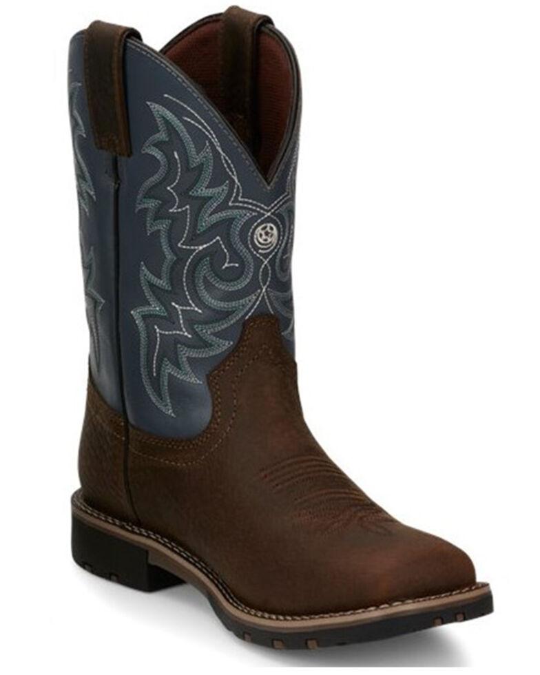 Justin Men's Fireman Blue Waterproof Western Work Boots - Soft Toe, Chocolate, hi-res