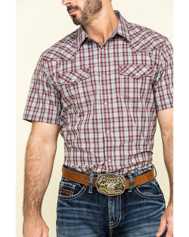 Cody James Men's Static Small Plaid Short Sleeve Western Shirt - Tall , Maroon, hi-res