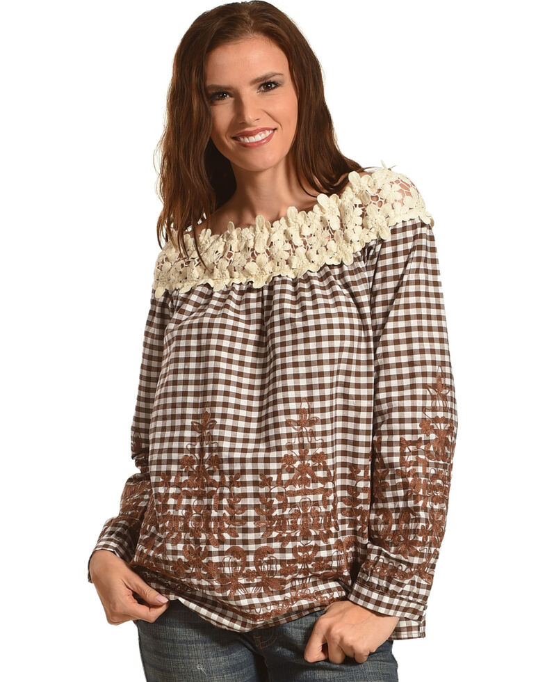 Young Essence Women's Off The Shoulder Embroidered Gingham Top, Brown, hi-res