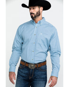 Ariat Men's Adamson Stretch Plaid Long Sleeve Western Shirt - Tall , Blue, hi-res