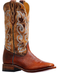 Boulet Men's Brown Stockman Cowboy Boots - Square Toe, Brown, hi-res