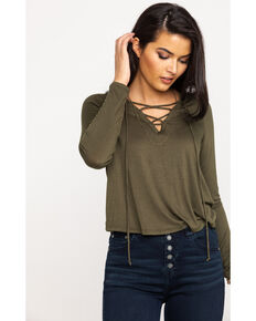 Red Label by Panhandle Women's Olive Lace Up Hoodie Top, Olive, hi-res
