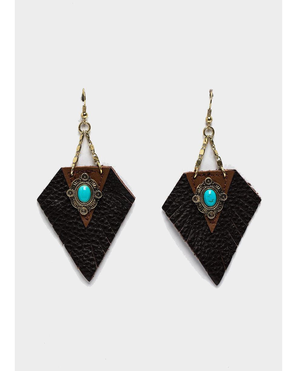 Shyanne Women's Summer Escape Triangular Leather Fringe Statement Earrings, Tan/copper, hi-res
