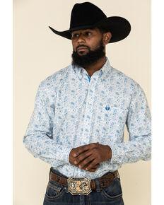Rough Stock By Panhandle Men's Atalaya Vintage Paisley Print Long Sleeve Western Shirt, White, hi-res