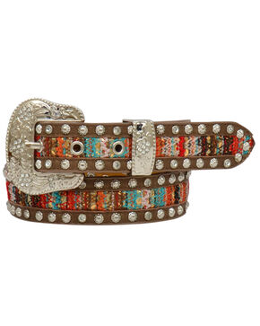 Angel Ranch Girls' Brown Serape Studded Belt , Brown, hi-res