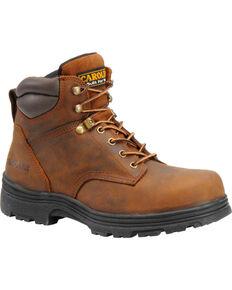 "Carolina Men's 6"" Brown Waterproof Work Boots - Steel Toe, Brown, hi-res"