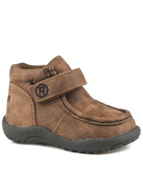 Roper Infant Boys' Moc Brown Faux Leather Cowbabies Chukkas - Moc Toe, Brown, hi-res