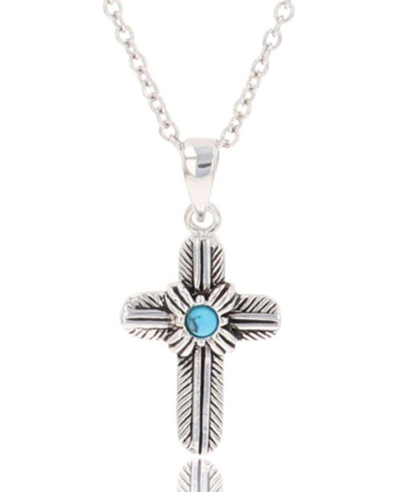 Montana Silversmiths Women's Feathered Cross Turquoise Center Necklace, Silver, hi-res