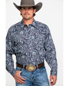 Cinch Men's Multi Modern Paisley Print Long Sleeve Western Shirt , Purple, hi-res